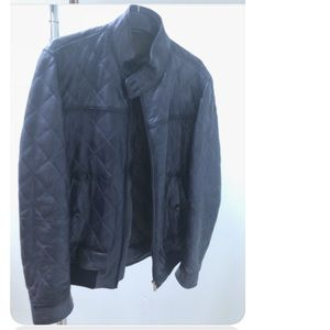 Massimo Dutti Indigo 100% Leather Quilted Jacket